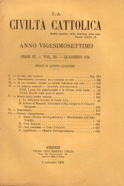 La Civiltà Cattolica. Anno 27, quaderno 629, AA. VV.