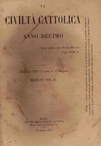 La Civiltà Cattolica. Anno 10, quaderno 222, AA.VV.