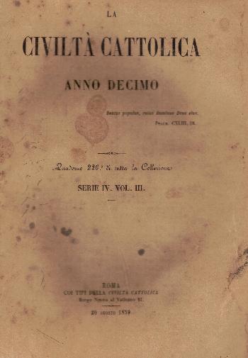 La Civiltà Cattolica. Anno 10, quaderno 226, AA.VV.