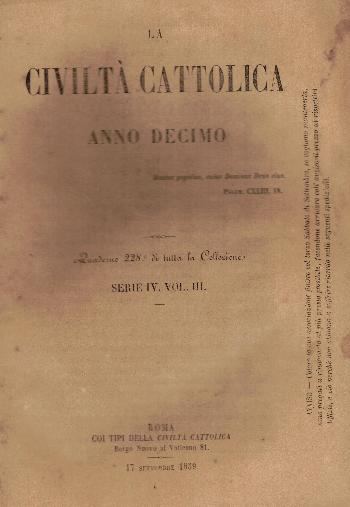 La Civiltà Cattolica. Anno 10, quaderno 228, AA.VV.