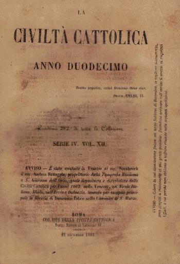 La Civiltà Cattolica. Anno 12, quaderno 282, AA.VV.