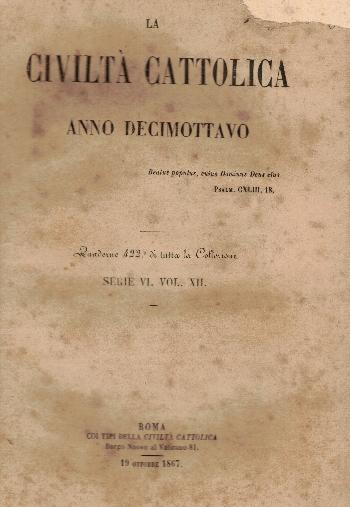 La Civiltà Cattolica. Anno 18, quaderno 422, AA.VV.