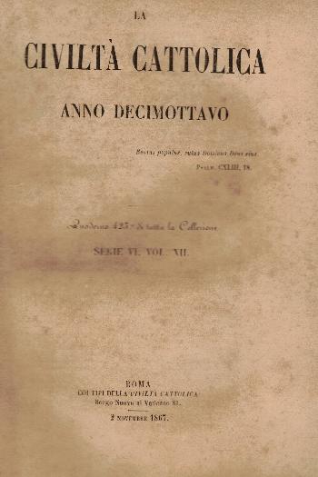 La Civiltà Cattolica. Anno 18, quaderno 423, AA.VV.