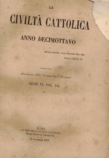 La Civiltà Cattolica. Anno 18, quaderno 424, AA.VV.