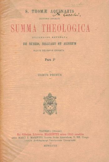 Summa Theologica Pars 1 Tomus Primus, S. Thomae Aquinatis