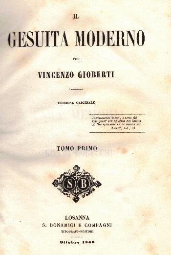 Opere VOL VIII, Il Gesuita moderno Tomo Primo, Vincenzo Gioberti