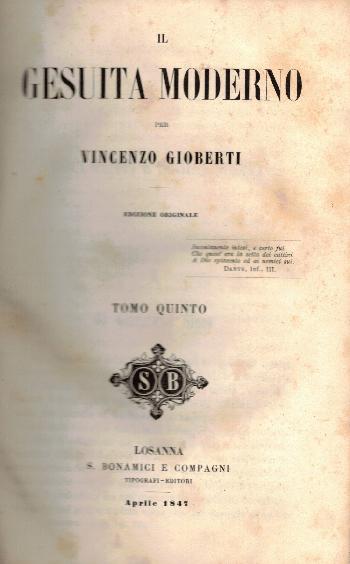 Opere VOL XII, Il Gesuita moderno Tomo Quinto, Vincenzo Gioberti