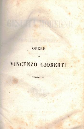 Opere VOL IX, Il Gesuita moderno Tomo Secondo, Vincenzo Gioberti