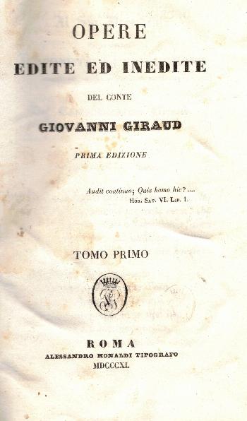 Opere edite ed inedite , Vol I - VI , Giovanni Giraud