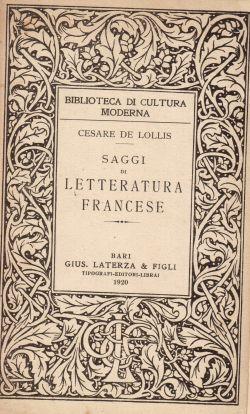 Saggi di letteratura francese, Cesare De Lollis