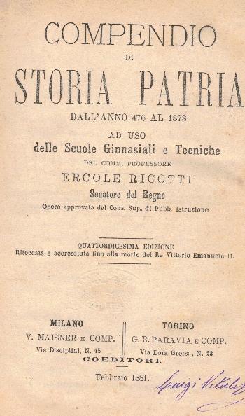 Compendio di Storia Patria dall'anno 476 al 1878, Ercole Ricotti