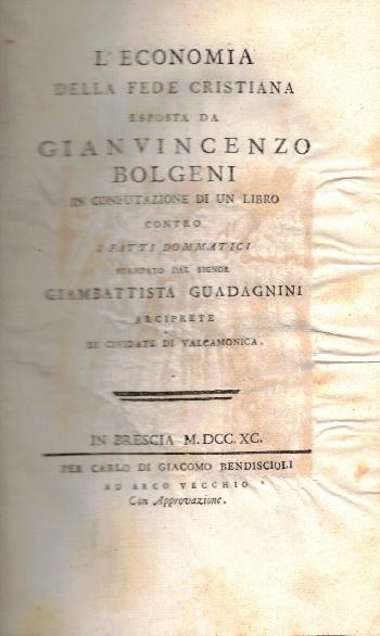 L'economia della fede cristiana, Gianvincenzo Bolgeni