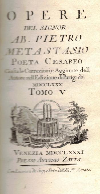 Opere Tomo V, Ab. Pietro Metastasio
