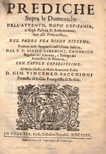 Prediche sopra le Domeniche, Padre Fra Diego Nisseno