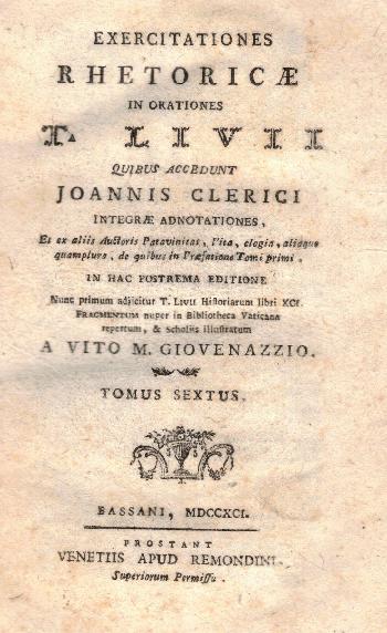 Exercitationes rhetoricae Tomus VI, T. Livii