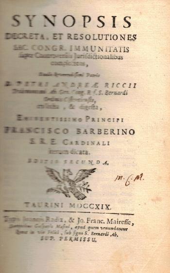 Synopsis decreta, et resolutiones, D. Petri Andreae Riccii