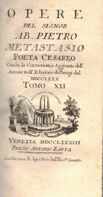 Opere Tomo XII, Ab. Pietro Metastasio
