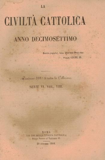 La Civiltà Cattolica. Anno 17, quaderno 398, AA.VV.