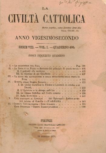 La Civiltà Cattolica. Anno 22, quaderno 496, AA.VV.