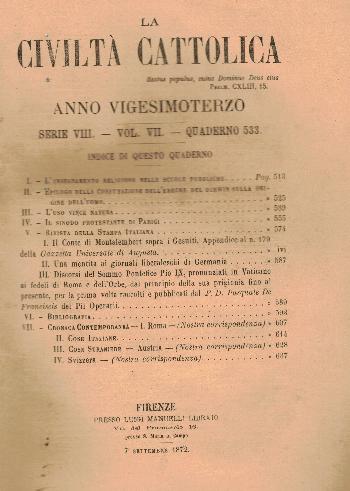 La Civiltà Cattolica. Anno 23, quaderno 533, AA.VV.