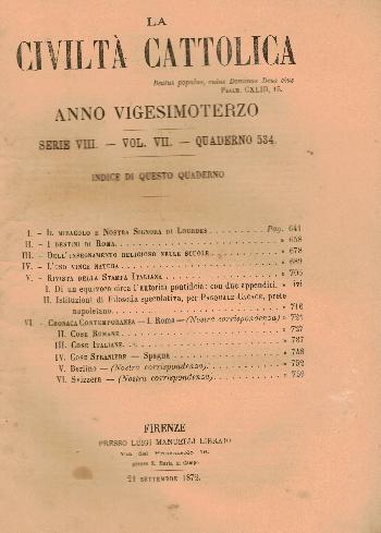 La Civiltà Cattolica. Anno 23, quaderno 534, AA.VV.