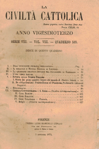 La Civiltà Cattolica. Anno 23, quaderno 535, AA.VV.