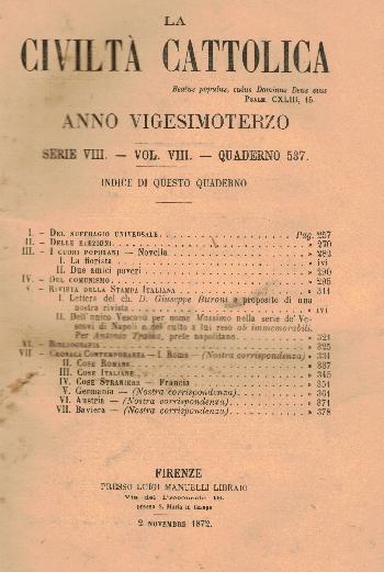La Civiltà Cattolica. Anno 23, quaderno 537, AA.VV.