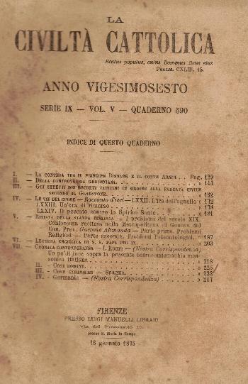 La Civiltà Cattolica. Anno 26, quaderno 590, AA.VV.