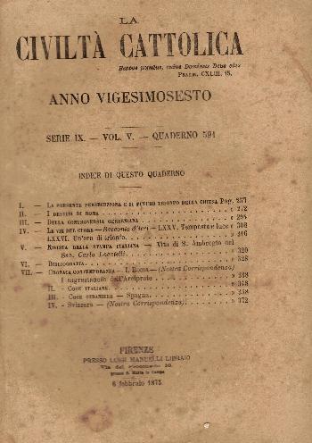 La Civiltà Cattolica. Anno 26, quaderno 591, AA.VV.