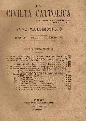 La Civiltà Cattolica. Anno 26, quaderno 592, AA.VV.