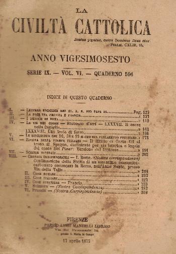 La Civiltà Cattolica. Anno 26, quaderno 596, AA.VV.
