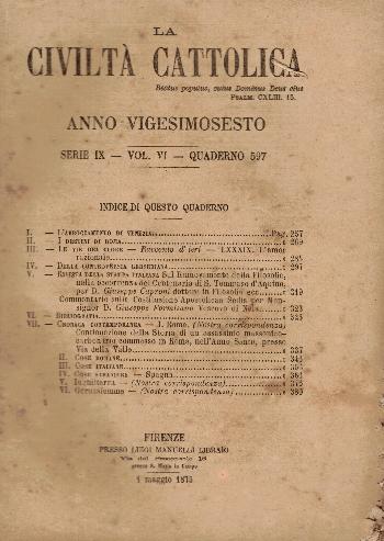 La Civiltà Cattolica. Anno 26, quaderno 597, AA.VV.
