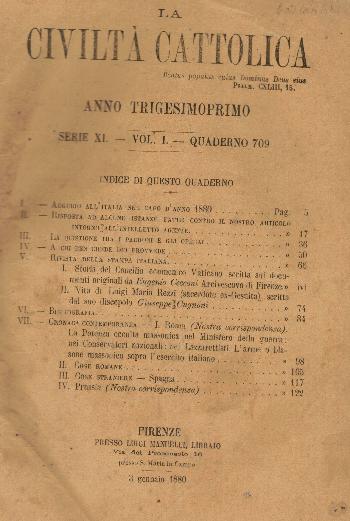 La Civiltà Cattolica. Anno 31, quaderno 709, AA.VV.