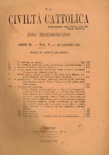 La Civiltà Cattolica. Anno 32, quaderno 734, AA.VV.