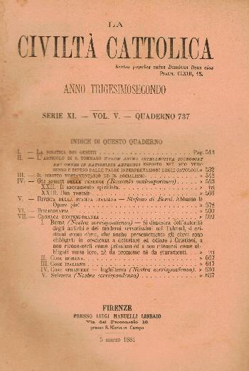 La Civiltà Cattolica. Anno 32, quaderno 737, AA.VV.