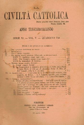 La Civiltà Cattolica. Anno 32, quaderno 738, AA.VV.