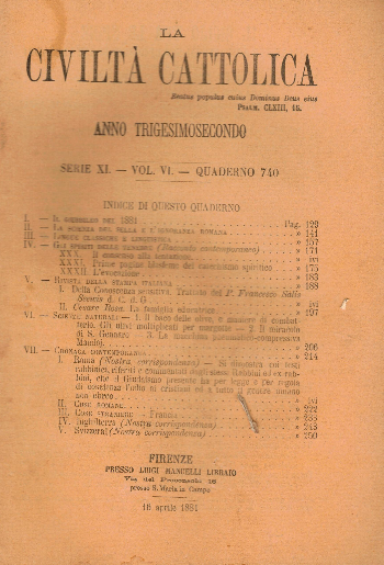 La Civiltà Cattolica. Anno 32, quaderno 740, AA.VV.