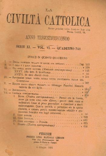 La Civiltà Cattolica. Anno 32, quaderno 743, AA.VV.