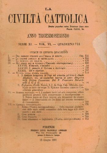 La Civiltà Cattolica. Anno 32, quaderno 744, AA.VV.