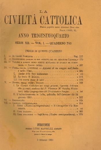 La Civiltà Cattolica. Anno 34, quaderno 783, AA.VV.
