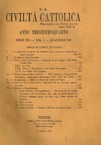 La Civiltà Cattolica. Anno 34, quaderno 786, AA.VV.