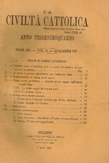 La Civiltà Cattolica. Anno 34, quaderno 787, AA.VV.