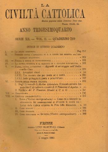 La Civiltà Cattolica. Anno 34, quaderno 789, AA.VV.