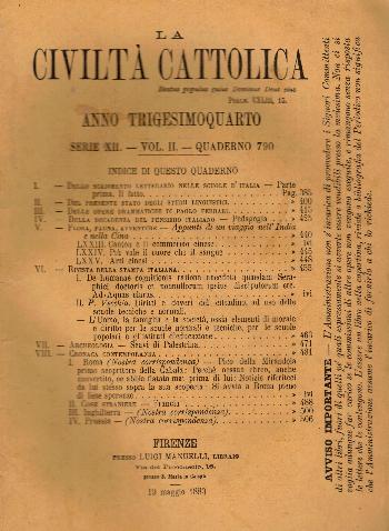 La Civiltà Cattolica. Anno 34, quaderno 790, AA.VV.
