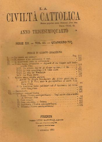 La Civiltà Cattolica. Anno 34, quaderno 797, AA.VV.