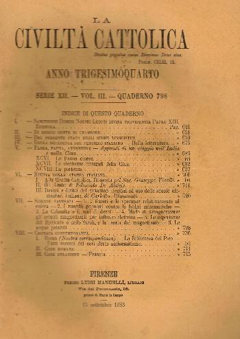 La Civiltà Cattolica. Anno 34, quaderno 798, AA.VV.