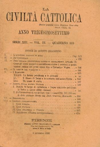 La Civiltà Cattolica. Anno 37, quaderno 869, AA.VV.