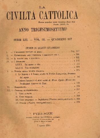 La Civiltà Cattolica. Anno 37, quaderno 867, AA.VV.