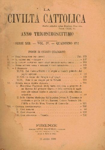 La Civiltà Cattolica. Anno 37, quaderno 872, AA.VV.