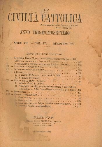 La Civiltà Cattolica. Anno 37, quaderno 873, AA.VV.